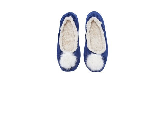Joules Ladies Pombury Ballet Slipper With Pom Pom French Navy