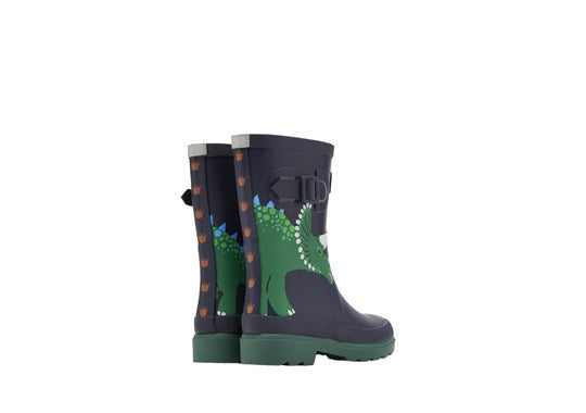 Joules Boys Welly Print Full Height Wellies Navy Dino