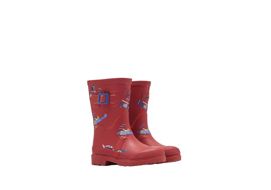 Joules Boys Welly Print Full Height Wellies Red Planes