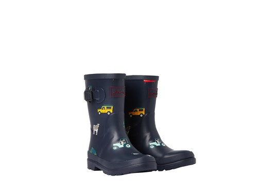 Joules Boys Welly Print Full Height Wellie Navy Farmyard