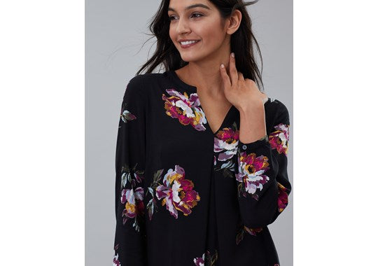Joules Ladies Rosamund V Neck Woven Top Black Peony