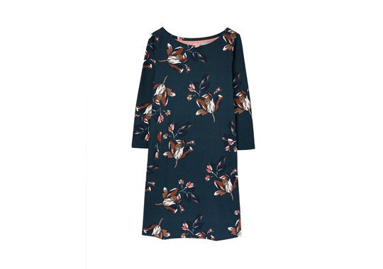 Joules Ladies Allie Swing Jersey Dress With Pockets Green Floral