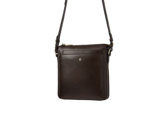 Joules Ladies Dunton Null Leather ACross Body Messenger Handbag Bag Choco