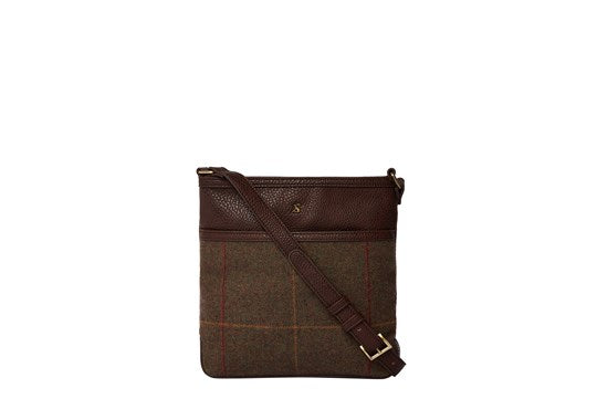 Joules Ladies Uxhall Tweed Small Cross Body Pouch Brown Tweed