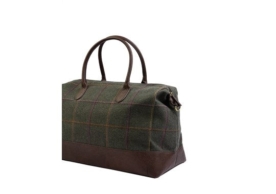 Joules Ladies Paddington Tweed Holdall Overnight Travel Bag Dark Green Tweed