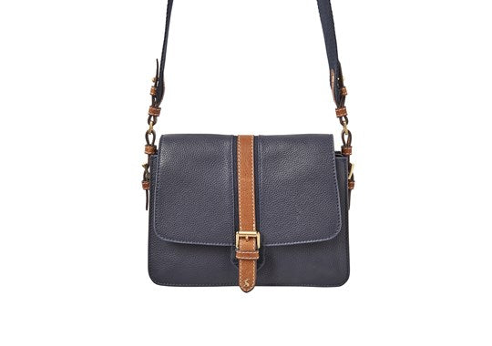 Joules Ladies Wimbourne Carriage Leather Cross Body Bag French Navy