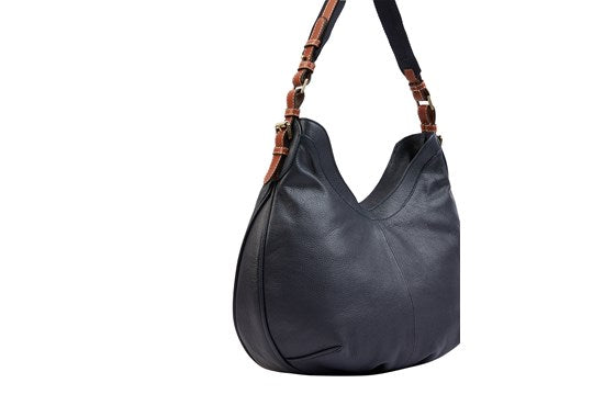 Joules Ladies Aldbury Carriage Leather Hobo Handbag Bag French Navy