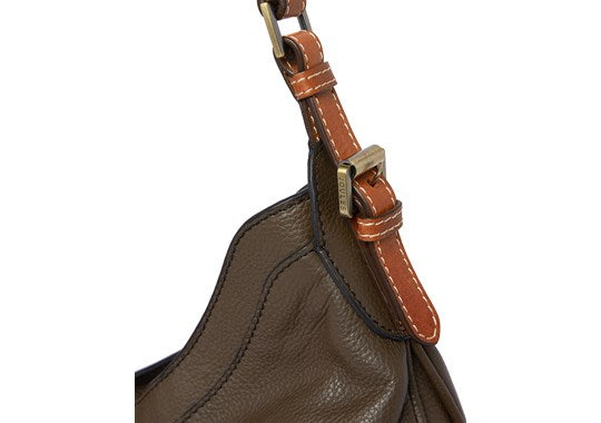 Joules Ladies Aldbury Carriage Leather Hobo Handbag Bag Khaki