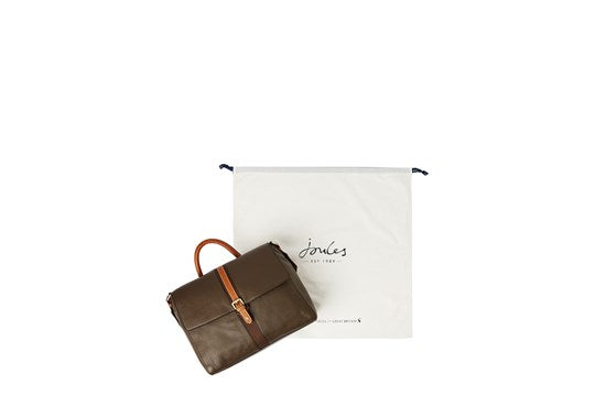Joules Ladies Banbury Carriage Leather Tote Handbag Bag Khaki