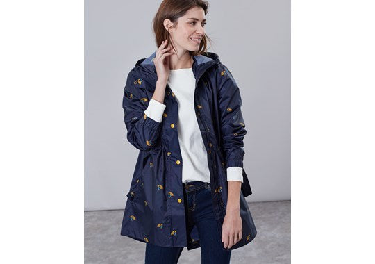 joules Ladies Golightly Waterproof Packaway Coat Navy Ducks with Umbrellas