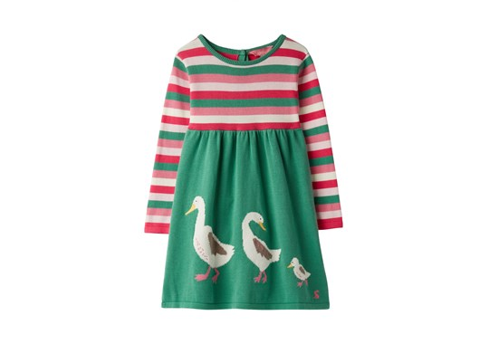 Joules Girls Millicent Knitted Dress Green Duck Family