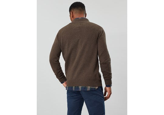 Joules Mens Hillside 1/4 Zip Funnel Neck Jumper Brown Melange