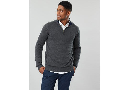 Joules Mens Hillside 1/4 Zip Funnel Neck Jumper Grey