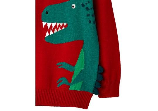 Joules Boys Zany Animal Intarsia Jumper Red Dino