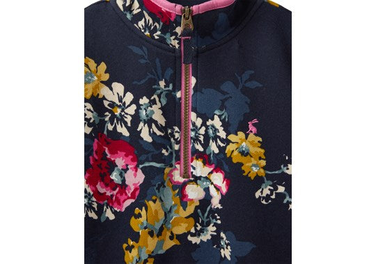 Joules Girls Fairdale 1/2 Zip Sweatshirt 30th Anniversary Floral Print