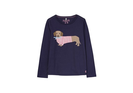 Joules Girls Bessie Screen Print T Shirt Navy Sausage Dog
