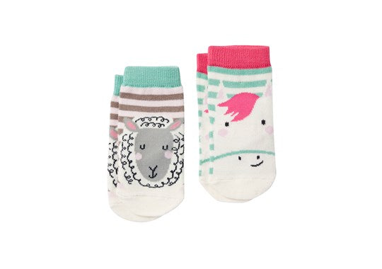 Joules Baby Neat Feet 2 Pack Character Socks Pink Horse Sheep
