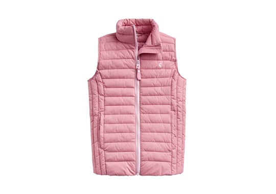 Joules Girls Croft Padded Gilet Warm Welcome Cherry Blossom