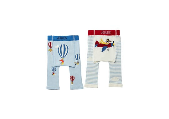 Joules Baby Lively Instarsia Leggings 2 Pack Multi Air Travel