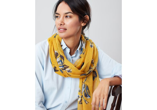 Joules Ladies Wensley Printed Scarf Gold Floral