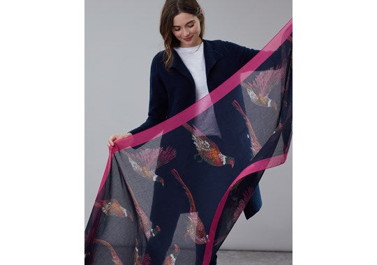 Joules Ladies Wensley Printed Scarf  Navy Pheasants