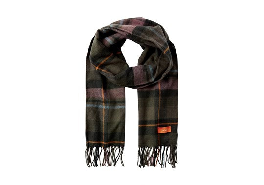 Joules Ladies Bracken Longline Check Scarf Dark Green Check