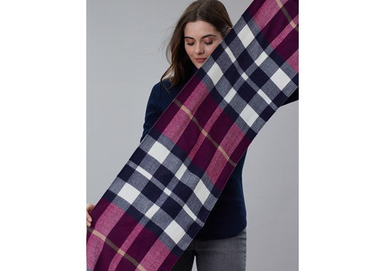 Joules Ladies Bracken Longline Check Scarf Dark Pink