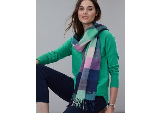 Joules Ladies Bracken Longline Check Scarf Navy Green