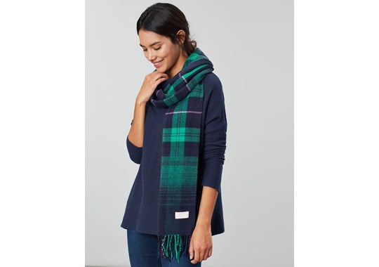Joules Ladies Bracken Longline Check Scarf Navy Ombre