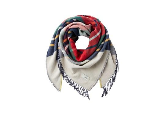 Joules Ladies Wilstow Triangle Scarf Creme Stripe