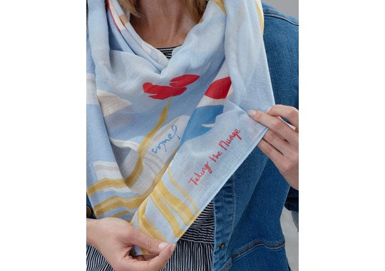 Joules Ladies Atmore Printed Square Scarf Cream Location