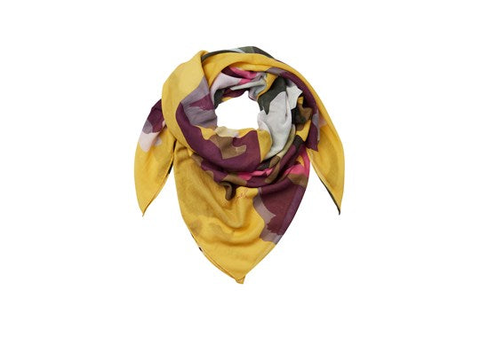 Joules Ladies Atmore Printed Square Scarf Gold Floral