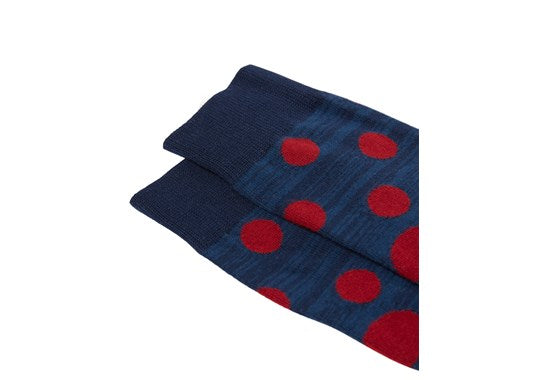 Joules Mens Striking Single Cotton Pair Of Socks Blue Red Spot