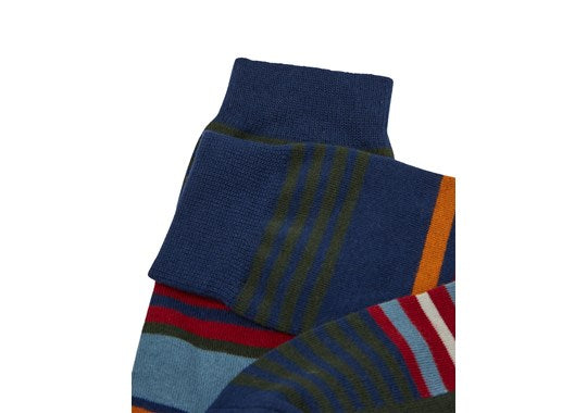 Joules Mens Striking Single Cotton Pair Of Socks Green Multi Stripe