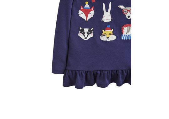 Joules Girls Esme Jersey Peplum Top Navy Wild Faces