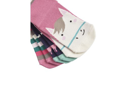 Joules Girls Brilliant Bamboo 3 Pack Socks Cat Stripe Horse Stripe