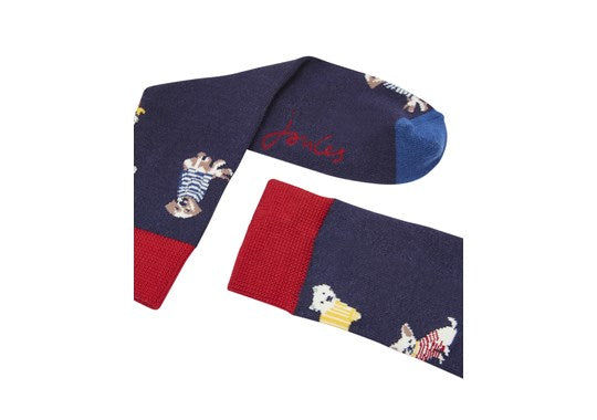 Joules Girls Brilliant Bamboo Single Socks Navy Dogs