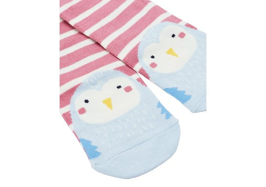 Joules Girls Neat Feet Character Intarsia Socks Pink Stripe Owl