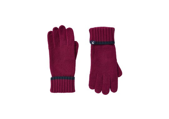 Joules Ladies Snowday Glove Knitted Gloves Berry