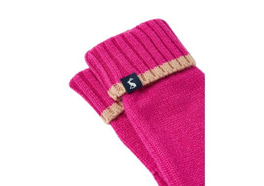 Joules Ladies Snowday Glove Knitted Gloves Ruby Pink