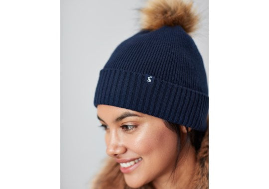 Joules Ladies Snowday Hat Lightweight Knitted Bobble Hat French Navy
