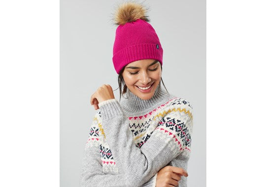 Joules Ladies Snowday Hat Lightweight Knitted Bobble Hat Ruby Pink
