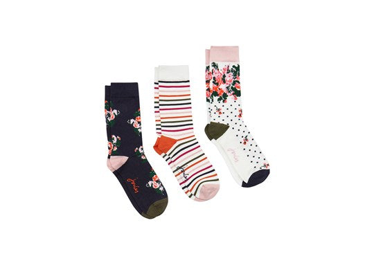Joules Ladies Brilliant Bamboo 3Pk Bamboo Socks White Multi Floral