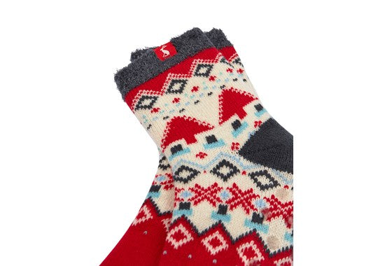 Joules Ladies Cabin Sock Dark Grey FairIsle