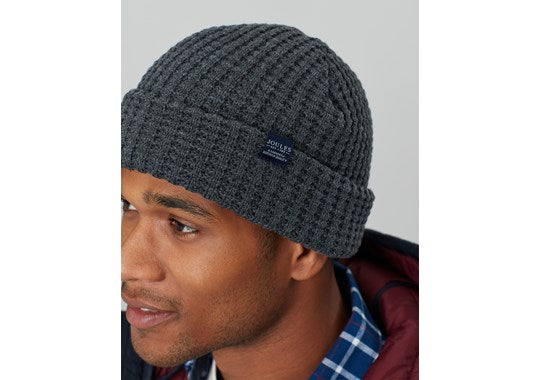 Joules Mens Bamburgh Hat Knitted Hat Grey