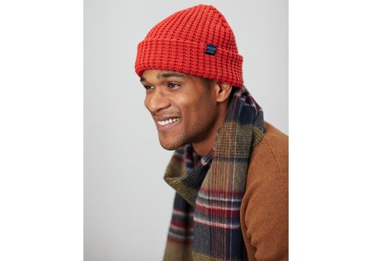 Joules Mens Bamburgh Hat Knitted Hat Soft Red