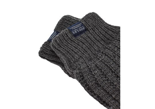 Joules Mens Bamburgh Gloves Cable Knit Gloves Grey