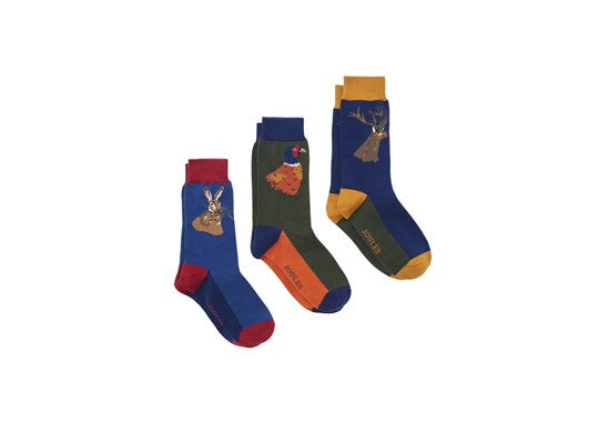 Joules Mens Striking 3Pk Ankle Sock Set Game animal