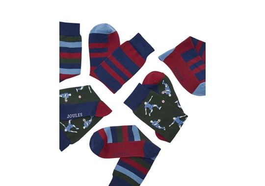 Joules Mens Striking 3Pk Ankle Sock Set Rugby Multi