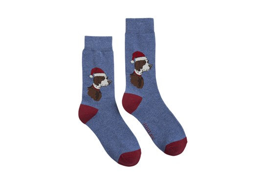 Joules Mens Christmas Bamboo Singles Socks Blue Christmas Xmas Dog
